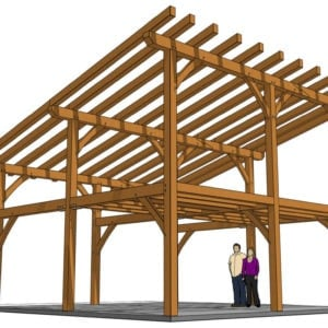 24x24 Shed Roof Plan with Loft 3D