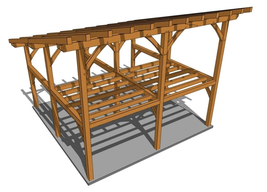 24x24 Shed Roof Plan with Loft Axonometric