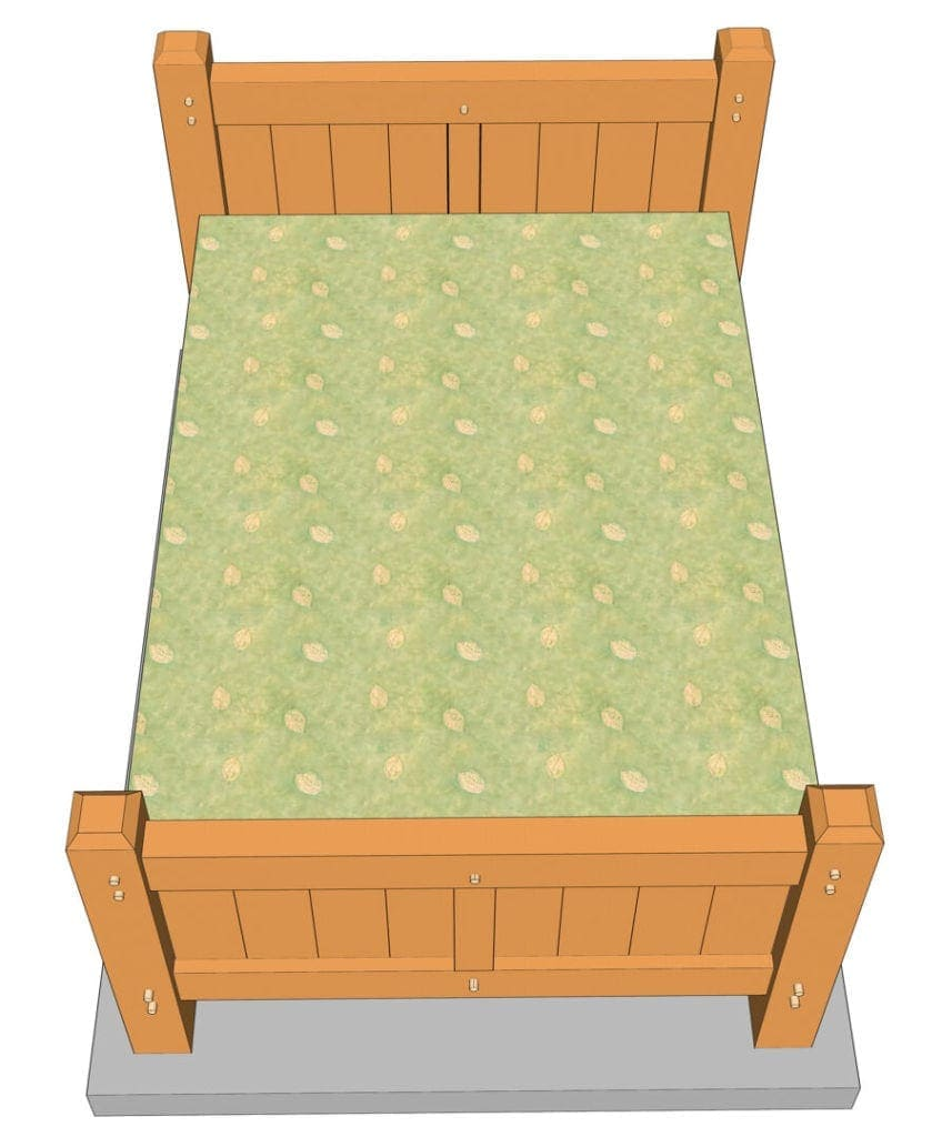 Queen Size Timber Frame Bed Plan (42073)-Top View