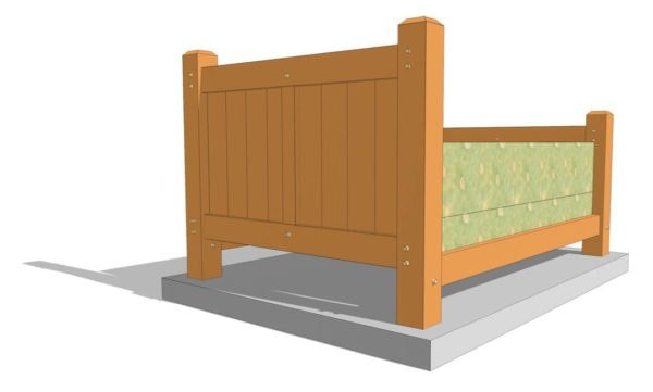 Queen Size Timber Frame Bed Plan (42073)-Rear