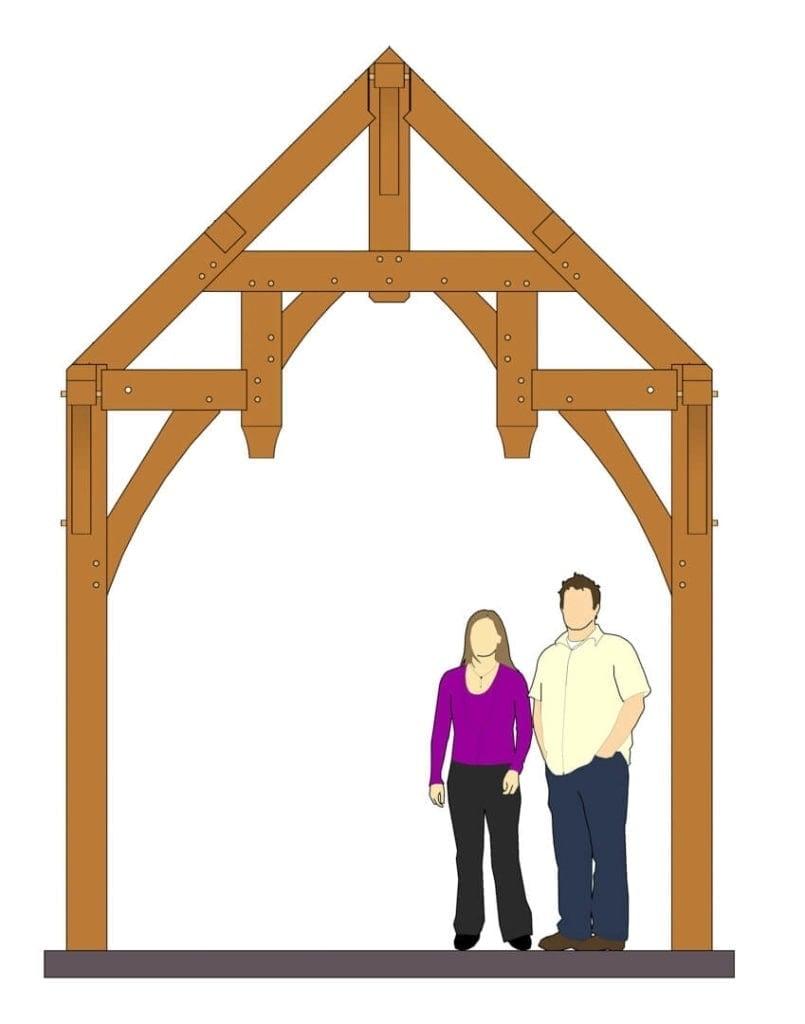 10x8 Hammer Beam Entry Porch Plan (41890) Front Elevation