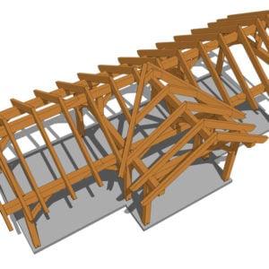 3 Gable Pavilion Plan (42674) Birdseye View