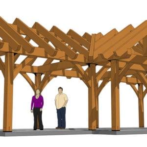 3 Gable Pavilion Plan (42674) Front View