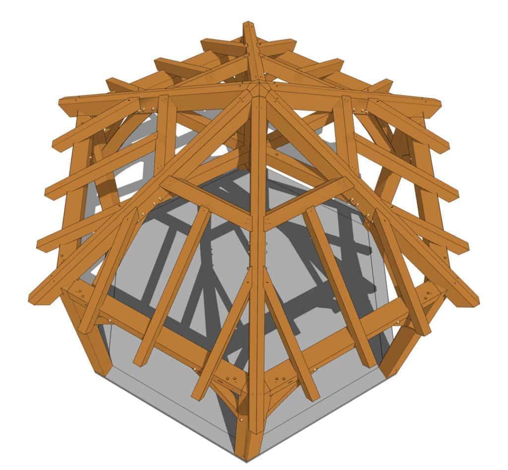 Hexagonal Gazebo Plan (42708) Birdseye