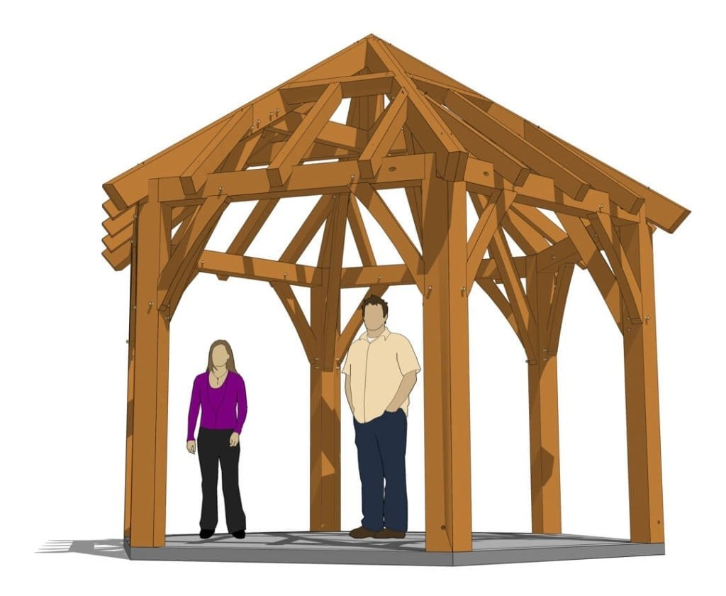 Hexagonal Timber Frame Gazebo Plan with models