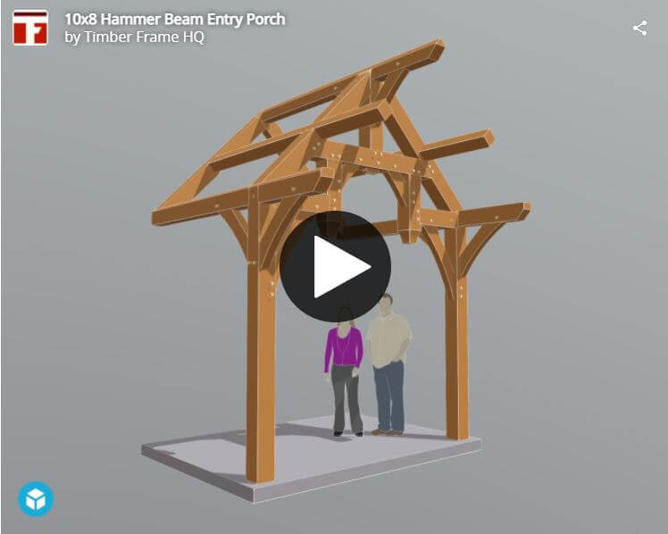 10×8 Hammer Beam Entry Porch Plan (41890) Interactive 3d Model