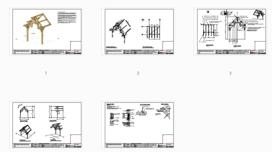 10x8 Hammer Beam Entry Porch Plan (41890) - Plan Overview